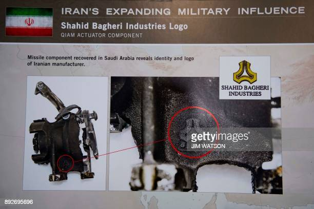 A placard showing a missile component recovered in Saudi Arabia reveals identity and logo of Iranian manufacturer Shahid Bagheri Industries Logo...