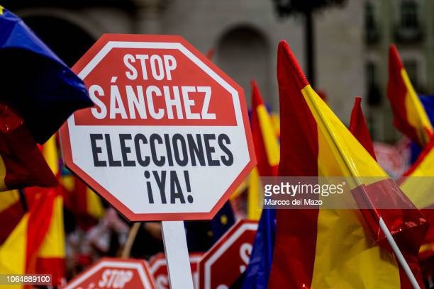 "Placard that reads ""Stop Sanchez. Elections Now"" during a protest organized by Ciudadanos party against Prime Minister Pedro Sanchez's policies with..."
