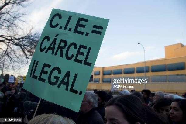 Placard that says CIE is equal to an illegal prison seen during the protest Feminist movement protest as a preparatory action for the March 8...