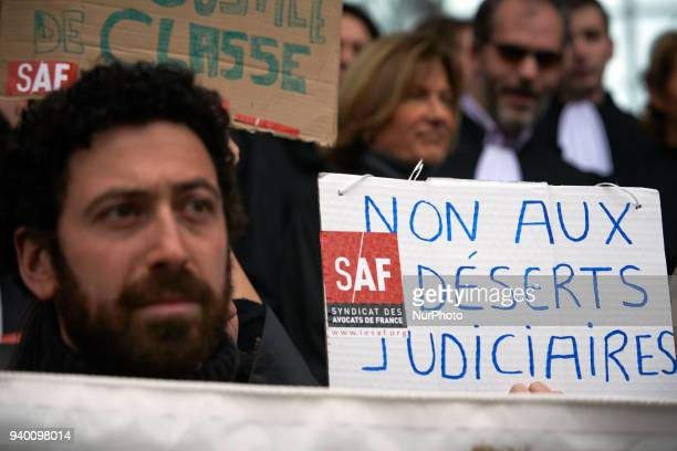 A placardreading 'No to Justice desert' The French Bar Association all lawyers' unions all magistrates' unions called all its members to be on strike...