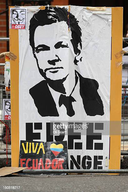 Placards are left by supporters of Julian Assange, the founder of the WikiLeaks whistle-blowing website, outside the Ecuadorian Embassy where Mr...