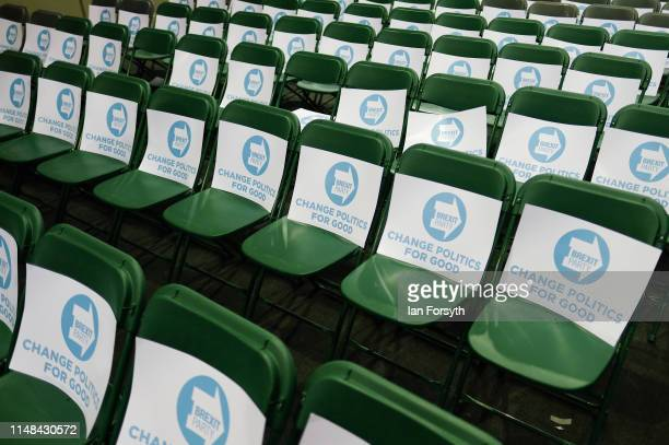 Placards are placed on seats ahead of a Brexit Party campaign event at Rainton Meadows Arena on May 11 2019 in Houghton Le Spring United Kingdom The...