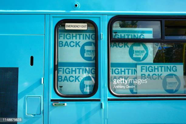 Placards are stored on the Brexit Party campaign bus outside the John Smith's Stadium ahead of the Brexit Party rally on May 13 2019 in Huddersfield...
