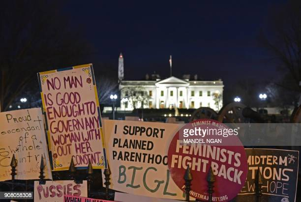 Placards left by Women's March on Washington 2018 protestors are seen at Lafayette Square across from the White House on January 20 2018 in...