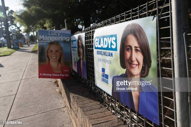 Placards line the fence outside Oatley Primary School on March 23 2019 in Sydney Australia The 2019 New South Wales state election is being held to...
