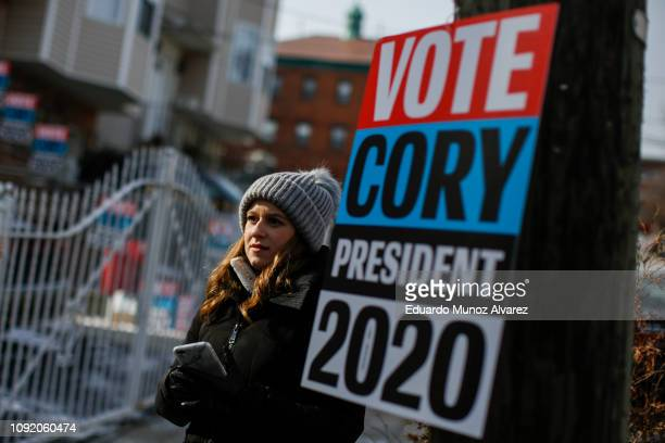 Placards of Sen Cory Booker are seen on a street before announcing his presidential bid during a press conference on February 1 2019 in Newark New...
