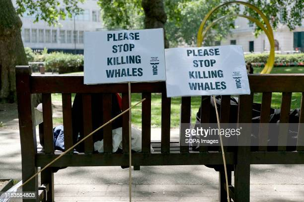 Placards saying Please stop killing whales seen during the Global march for whales in London Antiwhaling activists gathered in London to protest...