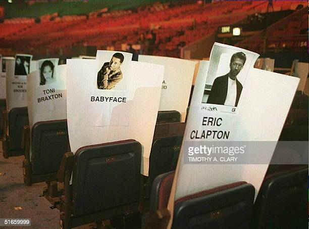 Place cards for Eric Clapton Kenneth 'Babyface' Edmonds and Tony Braxton sit in the chairs where the performers will sit as rehersals take place 25...