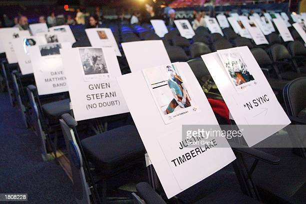 Place cards show the seat assignments during rehearsals for the 45th Annual Grammy Awards February 21 2003 at the Madison Square Garden in New York...