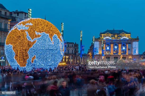 Place de la Comedie at Christmas, Montpellier, Herault, France