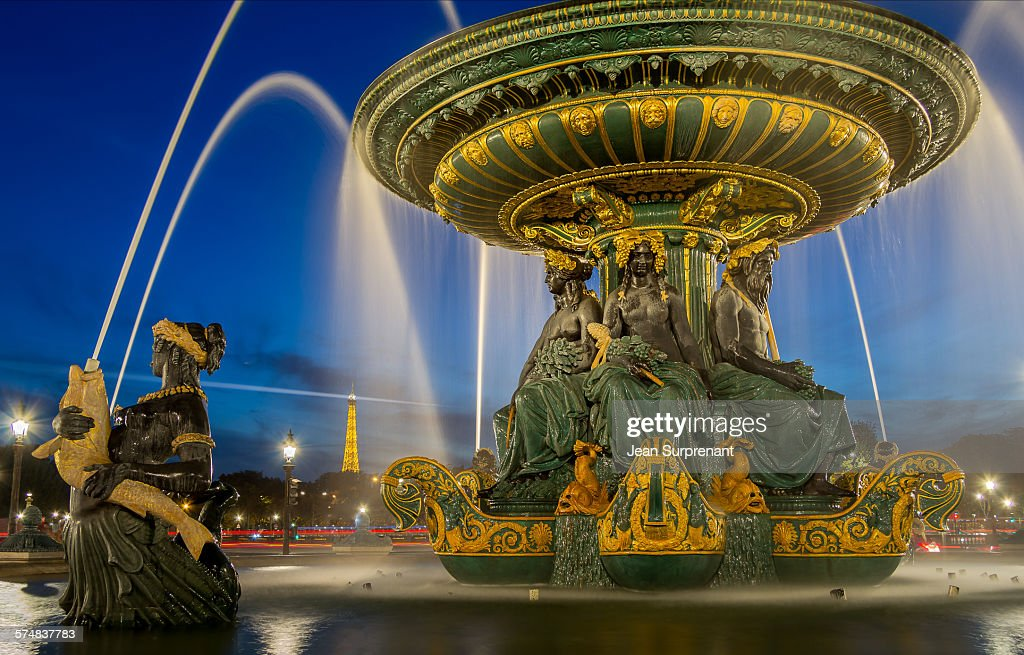 Place de la Concorde Blue hour : Stock Photo