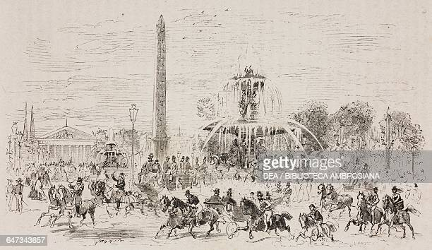 Place de la Concorde engraving by J Ansseau based on a drawing by Morin from ParisGuide by leading writers and artists of France Volume 2 Life 1867