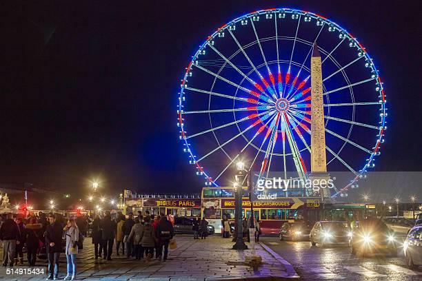 Place de la Concorde à Paris, en France, de nuit