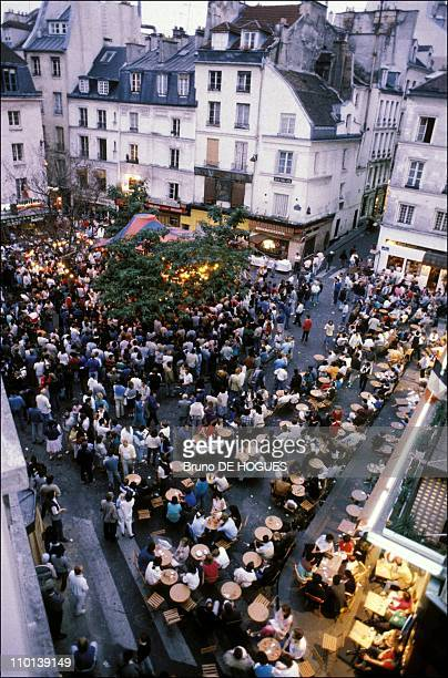 Place de la Contrescarpe 'Bal populaire' on july 14 th the French National Day in Paris France in July 1986