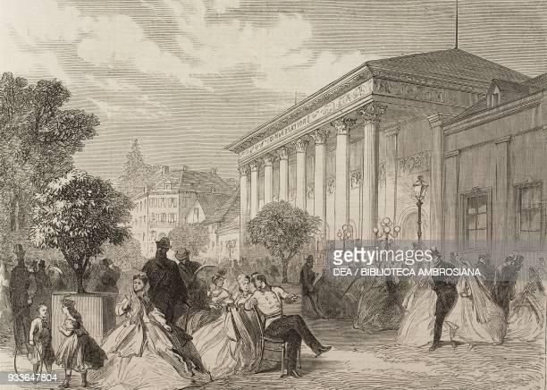 Place de la Conversation, Baden-Baden, Germany, illustration from the magazine The Illustrated London News, volume XLVII, September 9, 1865.