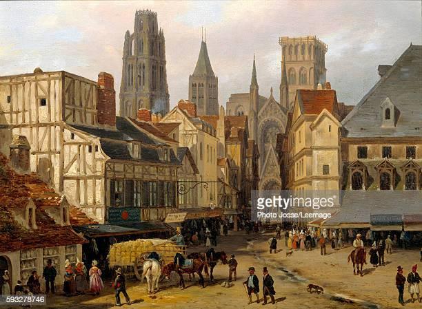 Place de la HauteVieilleTour Rouen Painting by Giuseppe Canella 1824 025 x 033m BeauxArts Museum Rouen France