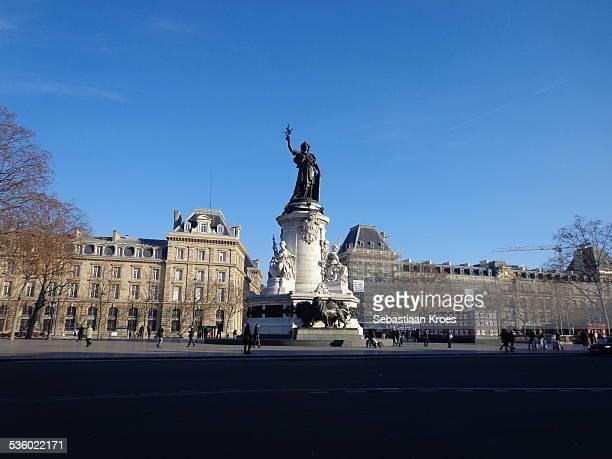 place de la république and monument, paris, france - place de la republique paris stock pictures, royalty-free photos & images