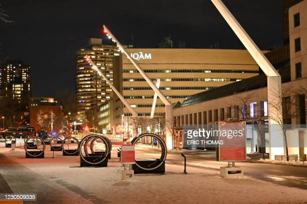 Place des Festivals is pictured deserted moments after the curfew was implemented from 8pm local time till 5am in Montreal, Canada on January 9,...