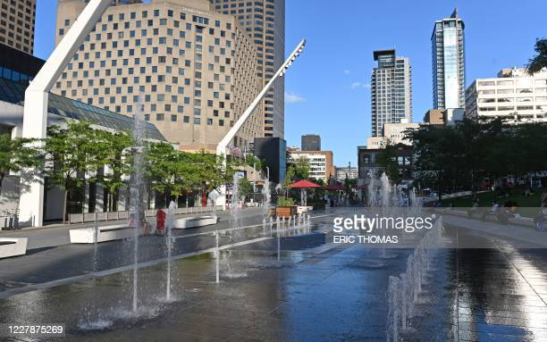 Place des Festivals is pictured in Montreal, Canada, on July 28, 2020. - Stripped of the crowds of visitors that usually flock to its sights, from...