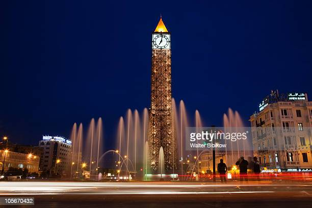 place du 7 novembre 1987 clocktower - tunesien stock-fotos und bilder