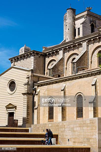 Place du Chapitre, Cathedral Notre Dame and Saint Castor, Nimes, Gard, France