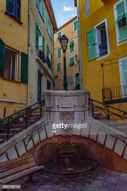 place du conseil  in villefranche-sur-mer , french riviera, france - alpes de haute provence stock photos and pictures