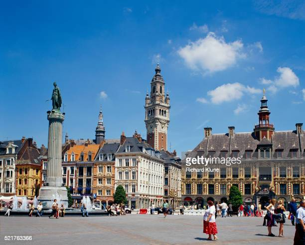 place du general de gaulle in lille - lille stock pictures, royalty-free photos & images