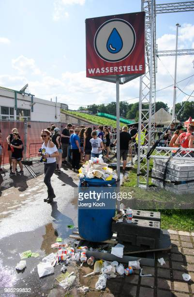A place for fresh water is filled with rubbish while fans celebrate Rock im Park 2018 festival at Zeppelinfeld on June 1 2018 in Nuremberg Germany