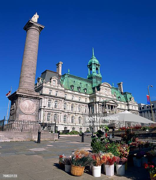place jacques cartier and montreal city hall, quebec, canada - place jacques cartier stock pictures, royalty-free photos & images