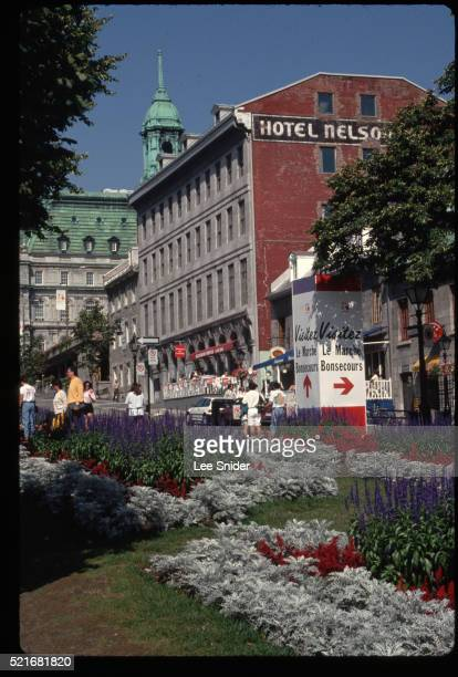 place jacques cartier in center of old montreal - place jacques cartier stock pictures, royalty-free photos & images