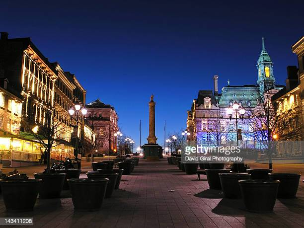 place jacques-cartier at dusk - montreal - place jacques cartier stock pictures, royalty-free photos & images