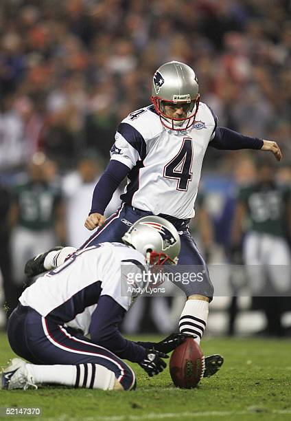 Place kicker Adam Vinatieri of the New England Patriots kicks a 22 yard field goal in the fourth quarter against the Philadelphia Eagles in Super...