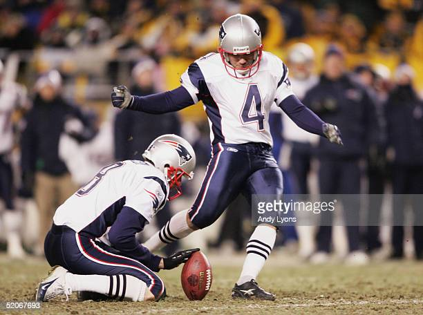 Place kicker Adam Vinatieri of the New England Patriots kicks a 48 yard field goal against the Pittsburgh Steelers in the AFC championship game at...