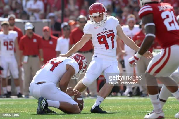 Place kicker Andrew Harte of the Rutgers Scarlet Knights kicks against the Nebraska Cornhuskers at Memorial Stadium on September 23 2017 in Lincoln...