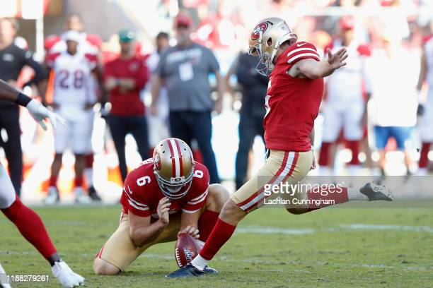 Place kicker Chase McLaughlin of the San Francisco 49ers kicks a 43 yard field goal against the Arizona Cardinals during the first half of the NFL...