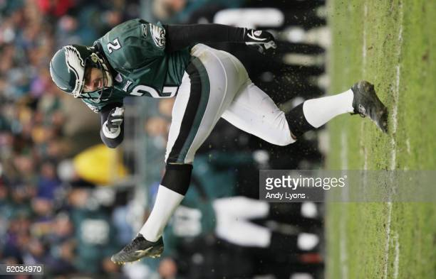 Place kicker David Akers of the Philadelphia Eagles follows through on a field goal attempt against the Minnesota Vikings in an NFC divisional...