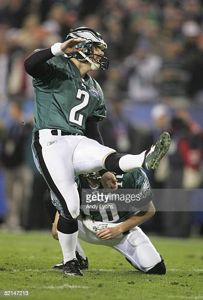 Place kicker David Akers of the Philadelphia Eagles kicks an extra point against the the New England Patriots in the fourth quarter in Super Bowl...