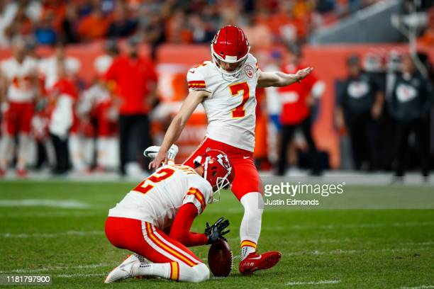 Place kicker Harrison Butker of the Kansas City Chiefs kicks a field goal on a hold from punter Dustin Colquitt during the first quarter against the...
