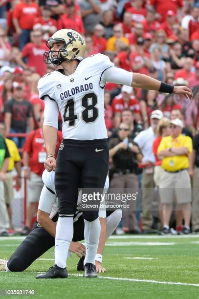 Place kicker James Stefanou of the Colorado Buffaloes watches a field goal attempt against the Nebraska Cornhuskers at Memorial Stadium on September...