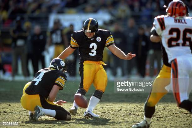 Place kicker Jeff Reed and holder Josh Miller of the Pittsburgh Steelers in action against the Cincinnati Bengals at Heinz Field on November 24 2002...