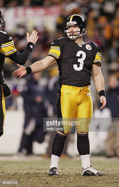 Place kicker Jeff Reed of the Pittsburgh Steelers celebrates after kicking a first half field goal against the New England Patriots in the AFC...