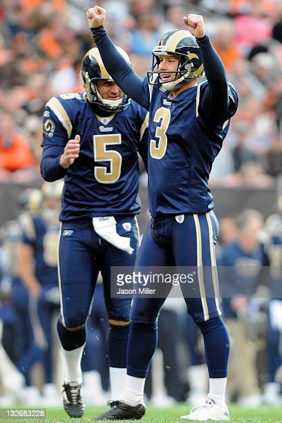 Place kicker Josh Brown and punter Donnie Jones of the St Louis Rams celebrate after Brown hit a field goal during the second quarter against the...
