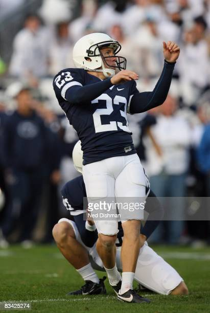 Place kicker Kevin Kelly of the Penn State Nittany Lions kicks a field goal against the University of Michigan Wolverines at Beaver Stadium on...