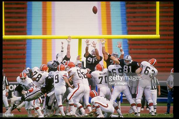 Place kicker Matt Bahr of the Cleveland Browns kicks a field goal during a game against the Los Angeles Raiders at the Los Angeles Memorial Coliseum...