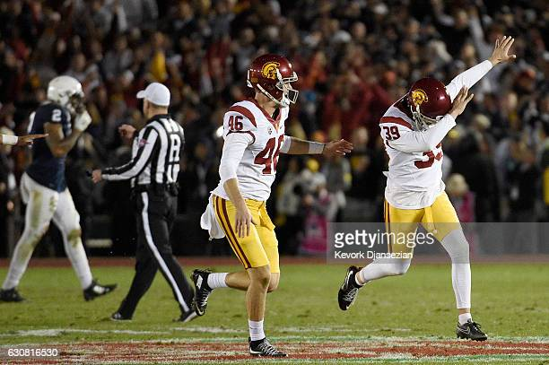 Place kicker Matt Boermeester of the USC Trojans celebrates after making a gamewinning 46yard field goal in the fourth quarter to defeat the Penn...