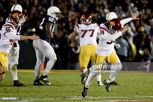 Place kicker Matt Boermeester of the USC Trojans celebrates after making a game-winning 46-yard field goal in the fourth quarter to defeat the Penn...
