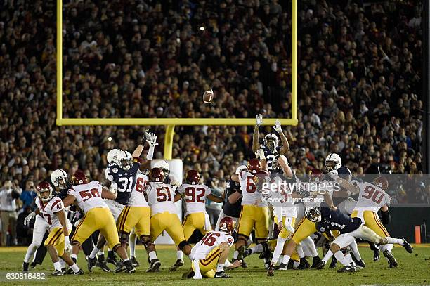 Place kicker Matt Boermeester of the USC Trojans makes a gamewinning 46yard field goal in the fourth quarter to defeat the Penn State Nittany Lions...