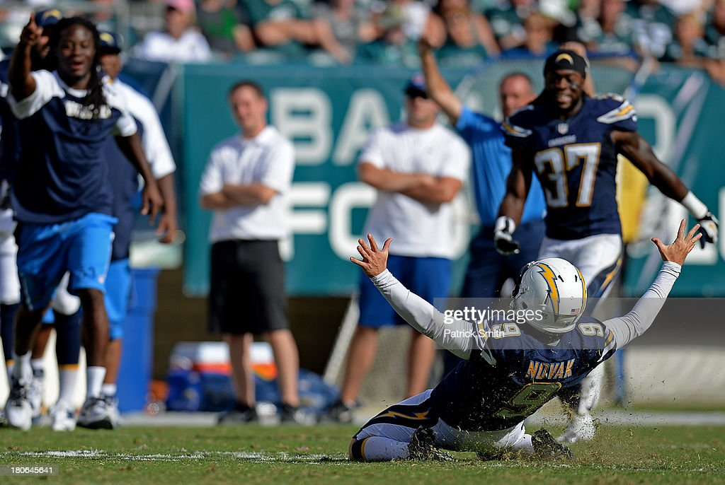 Place kicker Nick Novak #9 of the San Diego Chargers celebrates after kicking the game-winning field goal against the Philadelphia Eagles in the fourth quarter at Lincoln Financial Field on September 15, 2013 in Philadelphia, Pennsylvania. The San Diego Chargers won, 33-30.