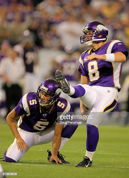 Place kicker Ryan Longwell of the Minnesota Vikings kicks a field goal from the hold of Chris Kluwe against the Baltimore Ravens during NFL action at...