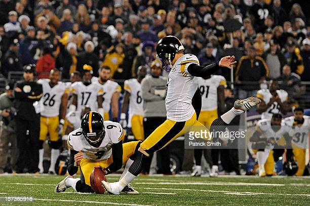Place kicker Shaun Suisham of the Pittsburgh Steelers kicks the gamewinning field goal as time expires in the fourth quarter against the Baltimore...